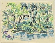 Eiichi Kotozuka 1906-1979 - Moss Garden of Saiho Temple - Watercolor on Silk