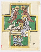 Eiichi Kotozuka 1906-1979 - Birth of Christ - Watercolor on Silk