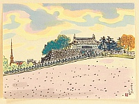Nisaburo Ito 1910-1988 - Foreground of the Imperial Palace - watercolor painting