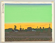 Unichi Hiratsuka 1895-1997 - Village of Horyu Temple in the Sunset Color