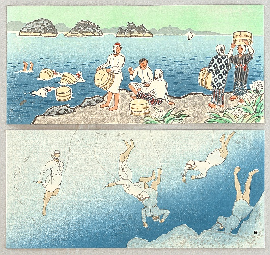 Nisaburo Ito 1910-1988 - Abalone Divers - 2 Sets of Triptich Postcards