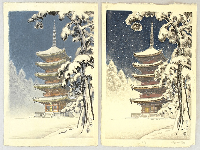 Nisaburo Ito 1910-1988 - Muro Temple in Snow - Trial proof print and the original water color painting
