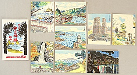 Nisaburo Ito 1910-1988 - National Park Izu - 8 postcards