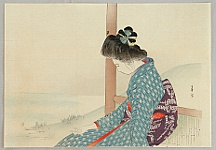 Shuntei Miyagawa 1873-1914 - Beauty by a Lake