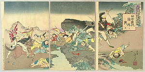 Toshimitsu Kobayashi active 1880-1900 - Sino-Japanese War - Battle around Fenghuangcheng Castle