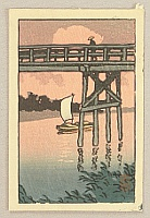 Hasui Kawase 1883-1957 - Bridge and Sail Boat