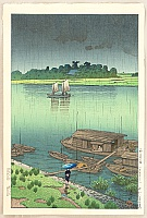 Arakawa River in May Rain - Kawase Hasui