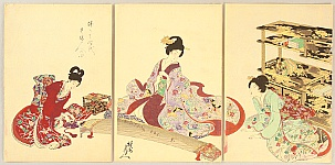 Chikanobu Toyohara 1838-1912 - Court Ladies in Tokugawa Era - Playing Koto