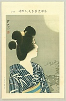 Shinsui Ito 1898-1972 - One Hundred Beauties in Takasago-zome Light Kimono - Beauty and The Moon