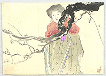 Hanko Kajita 1870-1917 - Beauty and Plum Tree