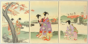 Chikanobu Toyohara 1838-1912 - The Ladies of Chiyoda Palace - Tea House in Garden with Waterfall