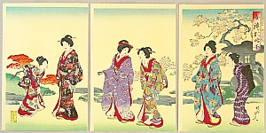Chikanobu Toyohara 1838-1912 - Abbreviated Pictures of Ladies' Manners and Customs