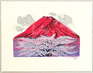 Hideo Nishiyama 1911-1989 - Snow, Moon, Flower - Red Mt. Fuji and Cherry Tree