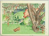 Chiura Obata 1885 - 1975 - Cat in a Garden - Trial Proof