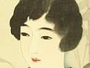 Shinsui Ito 1898-1972 - One Hundred Beauties in Takasago-zome Light Kimono - Beauty and Round Fan