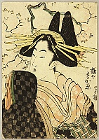 Utamaro Kitagawa 1750-1806 - Beauty Sugahara and Cherry Blosssoms