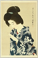 Shinsui Ito 1898-1972 - One Hundred Beauties in Takasago-zome Light Kimono - Beauty in  Early Summer