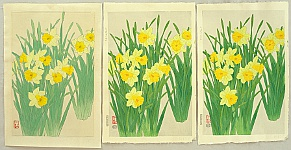 Nisaburo Ito 1910-1988 - Daffodils - Original Watercolor plus 2 Trial Prints