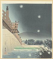 Tomikichiro Tokuriki 1902-1999 - 15 Views of Kyoto - Fireflies at Uji River