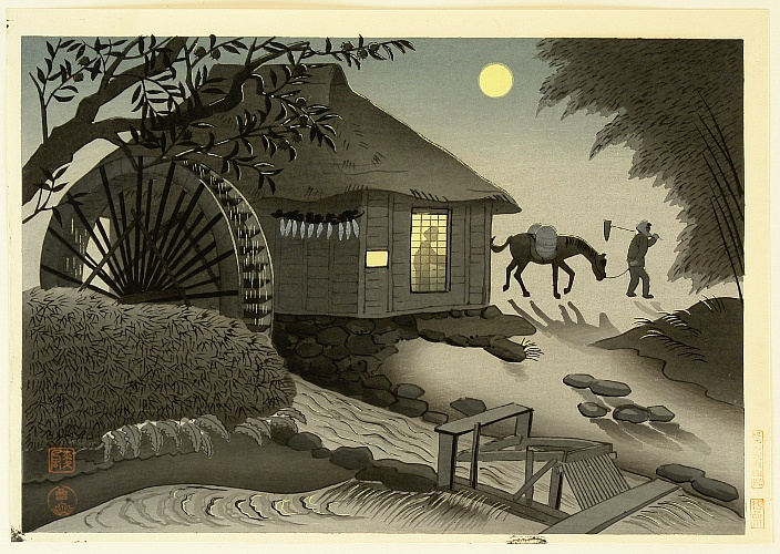 By Ohno Bakufu - Water Mill at Night
