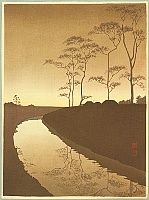 Koho Shoda 1871?-1946? - Canal under the  Moonlight - Sepia