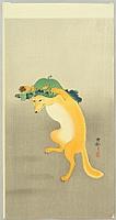 Dancing Fox - Koson Ohara - 1877-1945