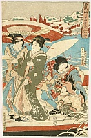 On a Ferry Boat in Snow - By Kunisada Utagawa