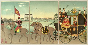 Yasuji Inoue 1864-1889 - Meiji Emperor in Horse Carriage