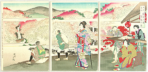 Chikanobu Toyohara 1838-1912 - Famous Places of Nikko - Banjaku Waterfall and Hoto Waterfall