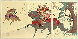 Chikanobu Toyohara 1838-1912 - Warriors Exchange Verses at Koromo River