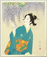 Beauty and Wisteria - By Kiyokata Kaburagi