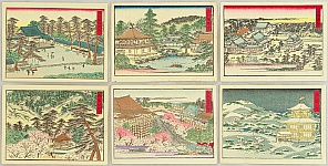 Unknown - 6 Woodblock Prints of Famous Temples around Kyoto