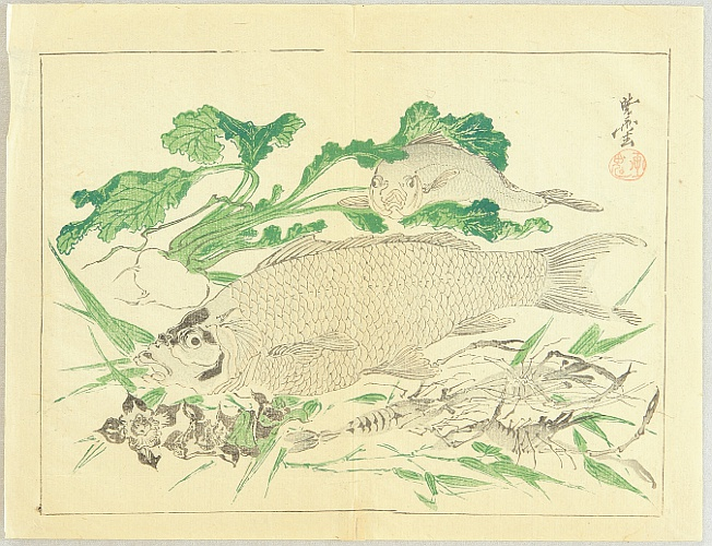Kyosai Kawanabe 1831-1889 - Kyosai Rakuga - Fish and Prawns