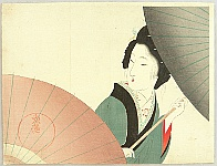 Eisen Tomioka 1864-1905 - Beauty and Umbrellas