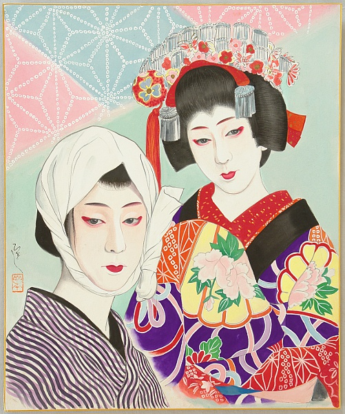 Hisashi Yamamoto 1905 - ? - Kabuki - Lovers, Jihei and Koharu
