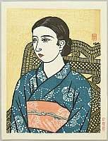 Unichi Hiratsuka 1895-1997 - Beauty in Blue Kimono