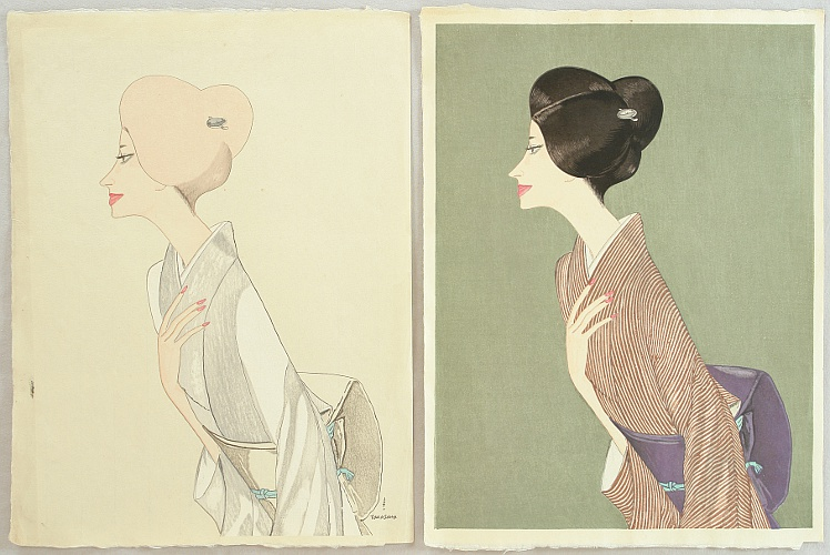 Keiichi Takasawa 1914-1984 - Beauty in Striped Kimono - Study and Proof Prints