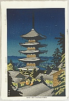 Takeji Asano 1900-1999 - Moonlight at Yasaka Pagoda