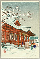 Shien  fl.ca. 1930-50s - Red Shrine in Snow