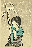 Yumeji Takehisa 1884-1934 - Small Works by Yumeji  - Snowy Pine