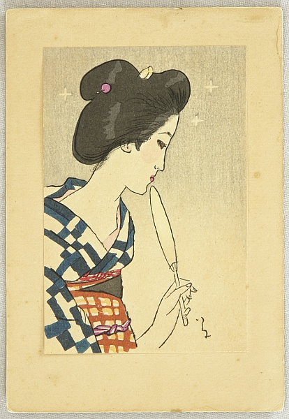 Yumeji Takehisa 1884-1934 - Small Works by Yumeji  - Beauty with Fan