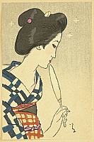 Small Works by Yumeji  - Beauty with Fan