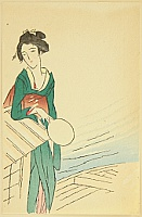 Yumeji Takehisa 1884-1934 - Small Works by Yumeji  - Beauty on a Boat