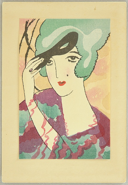Yumeji Takehisa 1884-1934 - Small Works by Yumeji  - Beauty with Mask
