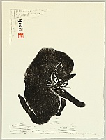 Masaharu Aoyama 1893-1969 - Cleaning Cat