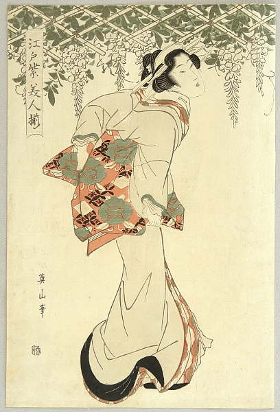 Eizan Kikugawa 1787-1867 - Beauty and Wisteria