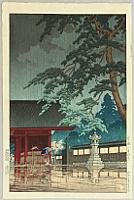 Spring Rain at Gokoku-ji Temple - Kawase Hasui