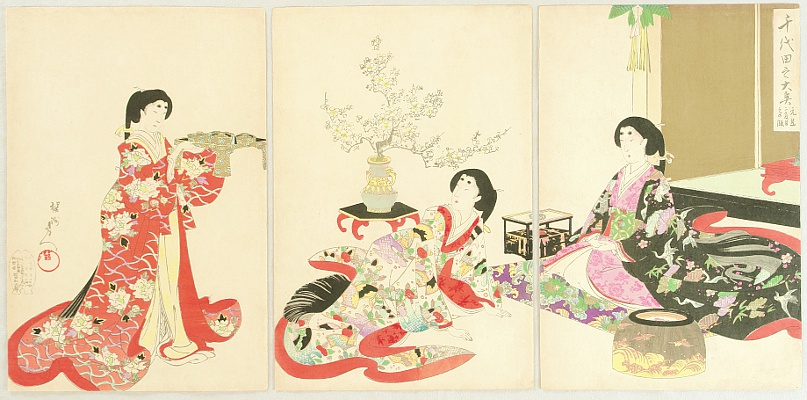 Chikanobu Toyohara 1838-1912 - Ladies in Chiyoda Palace - New Year's Day Lunch