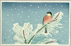 Tomikichiro Tokuriki 1902-1999 - Bird in Snowy Day