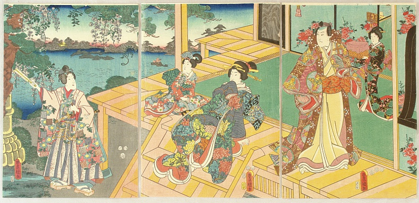 Kunisada Utagawa 1786-1865 - Prince Genji and Riverside Villa